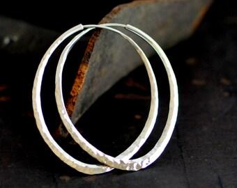 Lotus petal, sterling silver hoop earring, hammered oval hoop 2 inch long