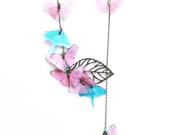 Bronze necklace with Luna moth and Butterfly