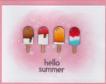 Hello Summer, Ice cream, red, hand made cards