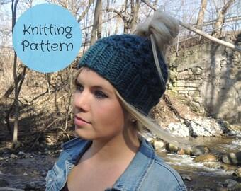 Knitting Pattern - Messy Bun Hat, Ponytail Hat, Yoga, Jogging, Running // Instant Download