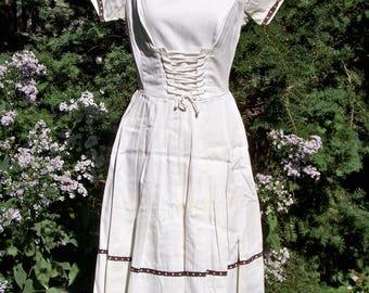 Vintage 1950s White Cotton Swiss-style Dress Retro Mad Men