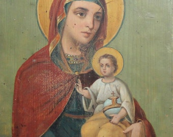 Vintage Tempera/Wood Hand Painted Icon Virgin Mary & Christ Child