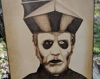 "Cardinal Copia of the band Ghost original free-handed woodburning (11.5""x16"")"