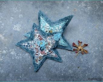 Double Star blue orange hair clip
