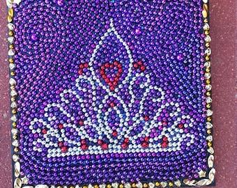 Mardi Gras Bead Art Silver Queens Crown