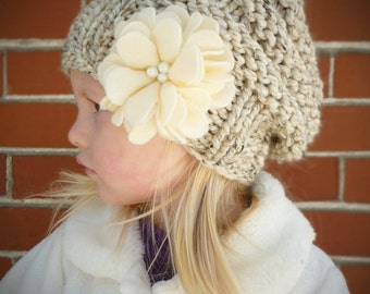 Slouchy Toddler Hat with Felt Flower & Pearls CHOOSE COLOR, Knit Toddler Girls Hat, Knit Kids Hat, Slouchy Beanie Toddler Girls