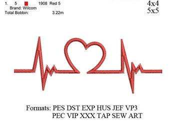 Heartbeat EKG ECG embroidery machine. embroidery pattern . embroidery designs No: 476