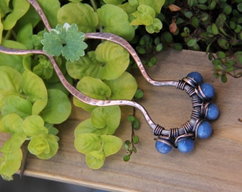Rustic wire wrapped antique copper & agate hair fork, hair pin, hair stick, hammered, textured, blue, green, pink, black, amber yellow