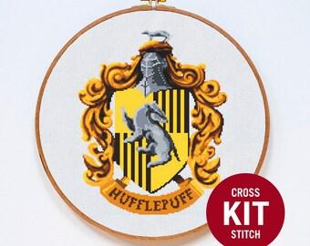 Hufflepuff Cross Stitch Kit, Harry Potter Cross Stitch Kit, Modern Cross Stitch Kit, Hogwarts, Counted Cross Stitch Pattern Instructions