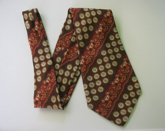Mens Silk Tie 70s Made in Italy Brown Paisley
