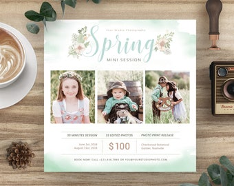 Spring Mini Session Template for Photographers, Easter Flyer Marketing Card, Mini Session Photoshop Template - INSTANT DOWNLOAD MS033