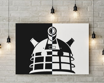 The Doctor Inspired, Dalek Pop Art, Obey and Exterminate, Custom Made to Order Raised Canvas Art Piece