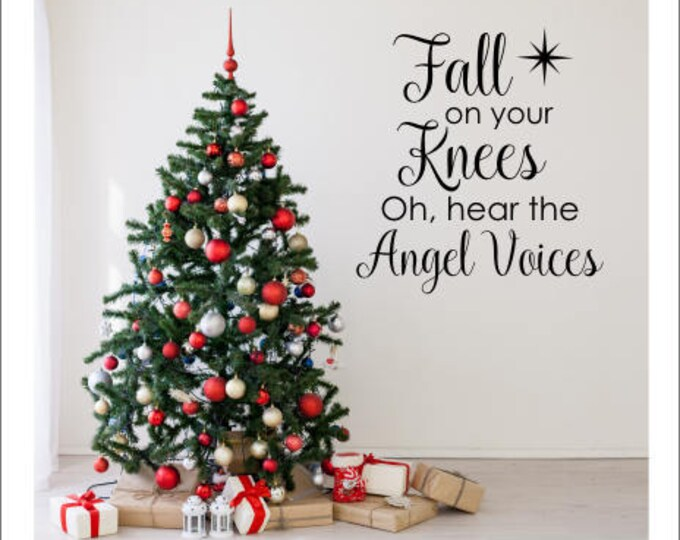 Christmas Decals Holiday Decor Fall on Your Knees Religious Vinyl Wall Decor Christmas Decor for Walls Vinyl Decal