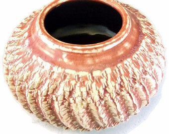 Textured Ceramic Vase / Handmade Stoneware Vase / Clay Pottery Art Vessel / Ready to Ship