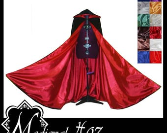 Black Shimmer Satin Cloak lined with Shimmer Satin. Ideal for LARP LRP Medieval Cosplay Costume. Made especially for you. NEW!