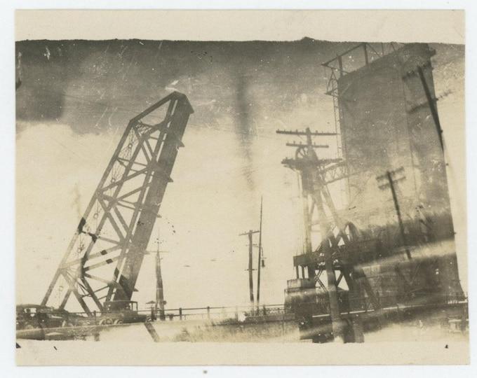 Double Exposure: Bridge & Industry c1910s-20s Vintage Snapshot Photo (712626)