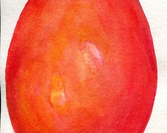 Mango watercolor painting, Mango painting, Original Watercolor, 4 x 6, fruit original painting, kitchen decor, mango tropical fruit wall art