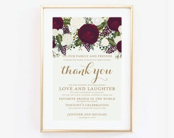 Thank You Wedding Sign Thank You Sign Reception Sign Ceremony Sign Thank You Wedding Poster Canvas or Large Art Print #CL158