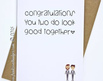 Gay Wedding Card Congratulations You Two Look Good Together