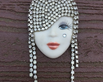 Vintage Jewelry Signed Marsha Bauer Stunning Woman Flapper Dripping in Rhinestones Pin Brooch