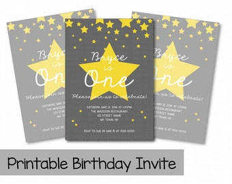Printable Birthday Invitations, Gray Star Birthday Invite, Falling Star Birthday Invitation, Kid's Birthday Party, Boy Birthday Party
