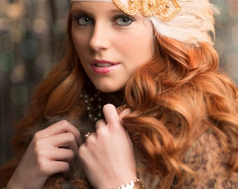 Gatsby Wedding Headpiece for Great Gatsby Dress Costume, Beige OR Black Feather 1920s Headband for 1920s Dress