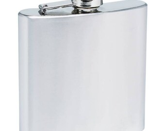 Plain rectangular stainless steel flask, 4 or 6 ounce size available