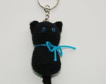 crochet keychain cat Crochet Keychain Halloween Party black kitten