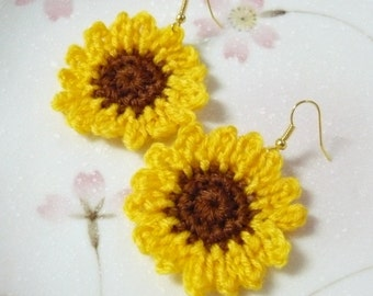 Handmade Crochet Sunflowers Earrings