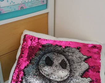 Mermaid cushion cover (40cm) - with hand drawn Jack Skellington, Sally or your name. Choice of colours for Nightmare Before Christmas gift