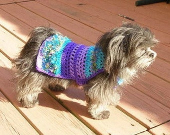 Dog sweater - IN THE TROPICS - with feather boa fringe - 2 to 20 lbs - Made to order