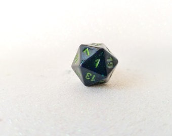 Individually cast clear resin D20 dice ring with black glitter