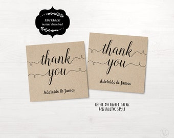 Wedding Favor Tags, Printable Wedding Favor Tag Template, Thank You Tag, Kraft Favor Tags, Instant DOWNLOAD, EDITABLE Text, 2x2, FT03, VW02