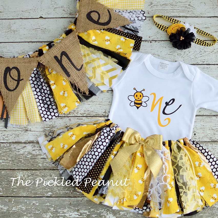 Bumble Bee 1st Birthday Girl Outfit Baby