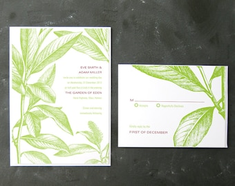 Adam and Eve - Botanical Drawing Invitations and RSVPs