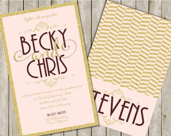Blush and Gold Wedding Invitations, Gold and Burgundy Wedding Invitations, Blush, Burgundy and Gold Wedding Invitation, Gold Glitter