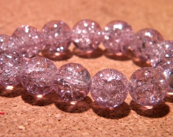 20 10 mm - purple - PF67 Crackle glass beads