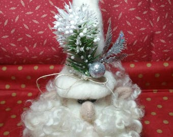 Adorable white Christmas gnome all ready for the holidays