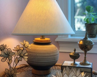 vintage wood and pottery boudoir lamp earthy boho small sphere table lamp