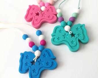 Unicorn Oral Sensory Necklace - Sensory Necklace - Pink Unicorn Necklace - Unicorn Teething Necklace - Oral Sensory Pendant - Chewlery