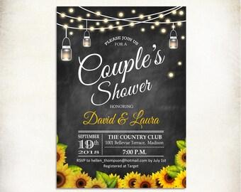 Sunflower Couple's Shower Invitation / Chalkboard / Black White /  Mason Jar / Fairy Lights / String Lights / Printable Digital Invite