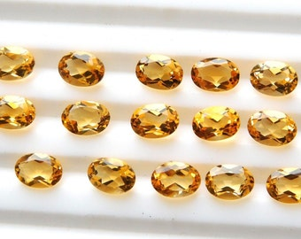 AAA Quality 10~Pc. Natural Oval Shape 100% Natural Citrine Faceted Cut,11.00 Ct. Yellow Gemstone Size-5x7MM, Wholesale Handmade Gemstone