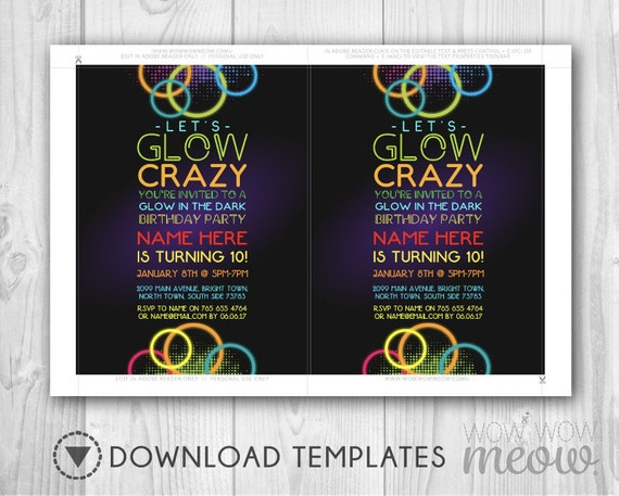 Lets Glow Crazy Invitation In The Dark Invites Party Birthday Any Age INSTANT DOWNLOAD Paint Girls Boys Customize Editable Printable