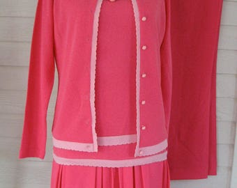 1960s Suit Deadstock Hot Pink  Talbotts Travler NOS Knit