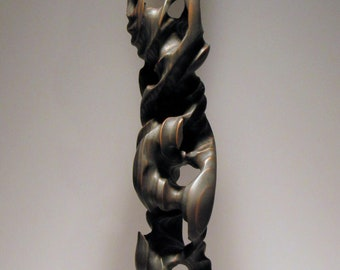 Mid Century Modern Abstract Surreal Wood Sculpture - The Eroded Man Series