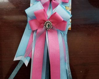 Pink and Light Blue Large Equestrian Show Bows (Grand Champion Size)