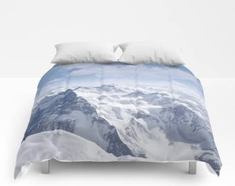 Mountains in Snow Duvet Cover or Comforter - Twin, Twin XL, Full, Queen and King Size, Without Inserts, Bedroom, Blue, Gift, Snow, Scenic