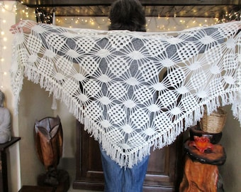 large off white fringe shawl
