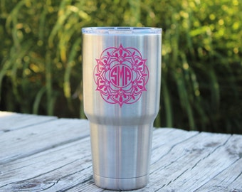 Mandala Decal, Mandala Monogram, Monogram Decal, Cup Decal, Mandala Monogram Decal, Car Decals, Decals for Women, Mandala Laptop Decal