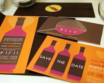 Winery Wedding Invitation, Vineyard Invitation Set, Wine Invitations, Burgandy Red, Brown, Orange